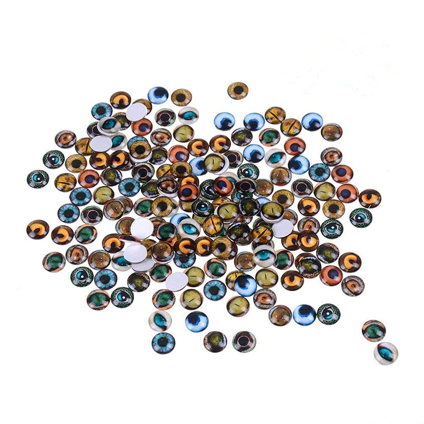 Mixed Color Lucky Evil Eye Glass Flatback Scrapbooking Dome Cabochons 12mm Dragon Eyes Accessory for Jewelry Pendant Settings 200PCS