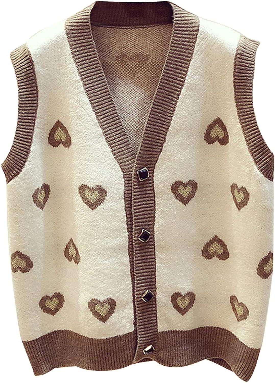 Gihuo Women' s V-Neck Button Down Cute Heart Sweater Vest