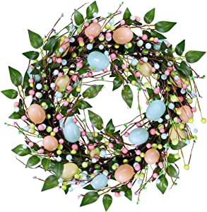 """besttoyhome 19"""" Wide Artificial Easter Egg and Mixed Berry Wreath Pastel Spring Door Wreath Decorative Twig Wreath for Farmhouse Front Door Wall Decoration"""