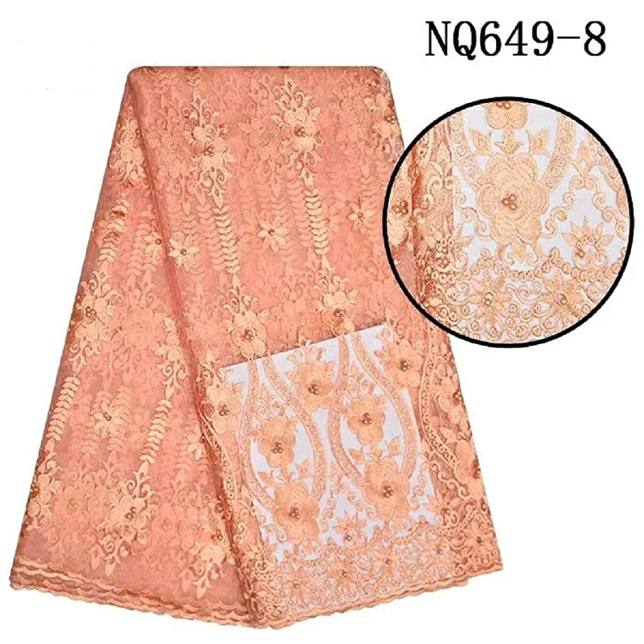 African Lace Fabric 5 Yards French Net Nigeria Lace Embroidered Guipure Fabrics 009 (Peach)