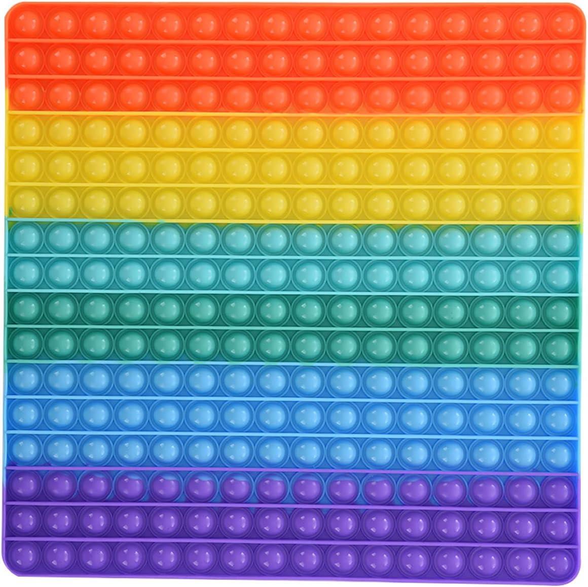 Super Big Size Push Pop Fidget Toy, Jumbo Rainbow 256 Bubbles Po