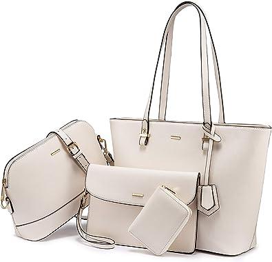 LOVEVOOK Handtasche Damen Shopper Schultertasche Umhängetasche Damen Gross Groß Damen Tasche Tote für Büro Schule Einkauf Reise Gross Leder Handtasche 4-teiliges Set