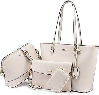 LOVEVOOK Handtasche Damen Shopper Schultertasche Umhängetasche Damen Groß Damen Tasche Gross Leder Handtaschen 4-teiliges Set