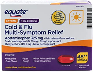 Equate Daytime Non-drowsy Cold & Flu Multi-Symptom Relief, 48 Softgels