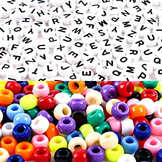 DICOBD 1000pcs Beads Kit, Letter Beads, Large Hole Beads Multi Color, White Acrylic Alphabet Beads for Name Bracelets, Jewelry Making and Crafts with 2 Elastic String Cords