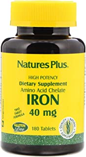 NaturesPlus Iron - 40 mg, 180 Vegetarian Tablets - High Potency Amino Acid Chelate Iron Supplement, Promotes Healthy Blood...