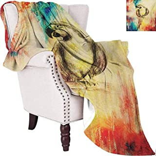 MKOK Parrot Children's Blanket Grunge Parrot Figure Vintage Paper Background Smart Talkative Flying Mascots Print Lightweight Soft Warm and Comfortable W60 x L70 Inch Multicolor