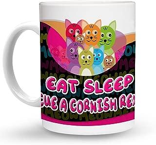 Makoroni - EAT SLEEP RESCUE A CORNISH REX CAT Cat Cats Mug - 11 Oz. Unique COFFEE MUG, Coffee Cup