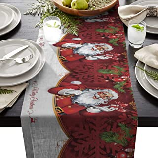 Winter Holiday Long Table Runner 13x70 Inch, Christmas Santa Clause Linen Burlap Table Cloth Runner for Kitchen Wedding Holiday Parties Events Decoration