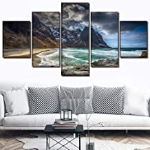 Canvas Painting Wall Art Frame Canvas Hd Print Picture Home Decoration 5 Pieces Landscape Norway Lofoten Beach Modular Poster Sofa background -16x24/32/40inch,Without frame