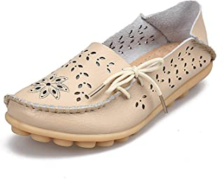 Women's Casual Genuine Leather Loafers Slip-On Flats Moccasins Driving Cut-Outs Mother Footwear