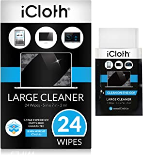 iCloth Large Lens and Screen Cleaner Pro-Grade Individually Wrapped Wet Wipes, 1 Wipe Cleans a LCD Monitor, Laptop, or Flat Screen HDTV, Box of 24