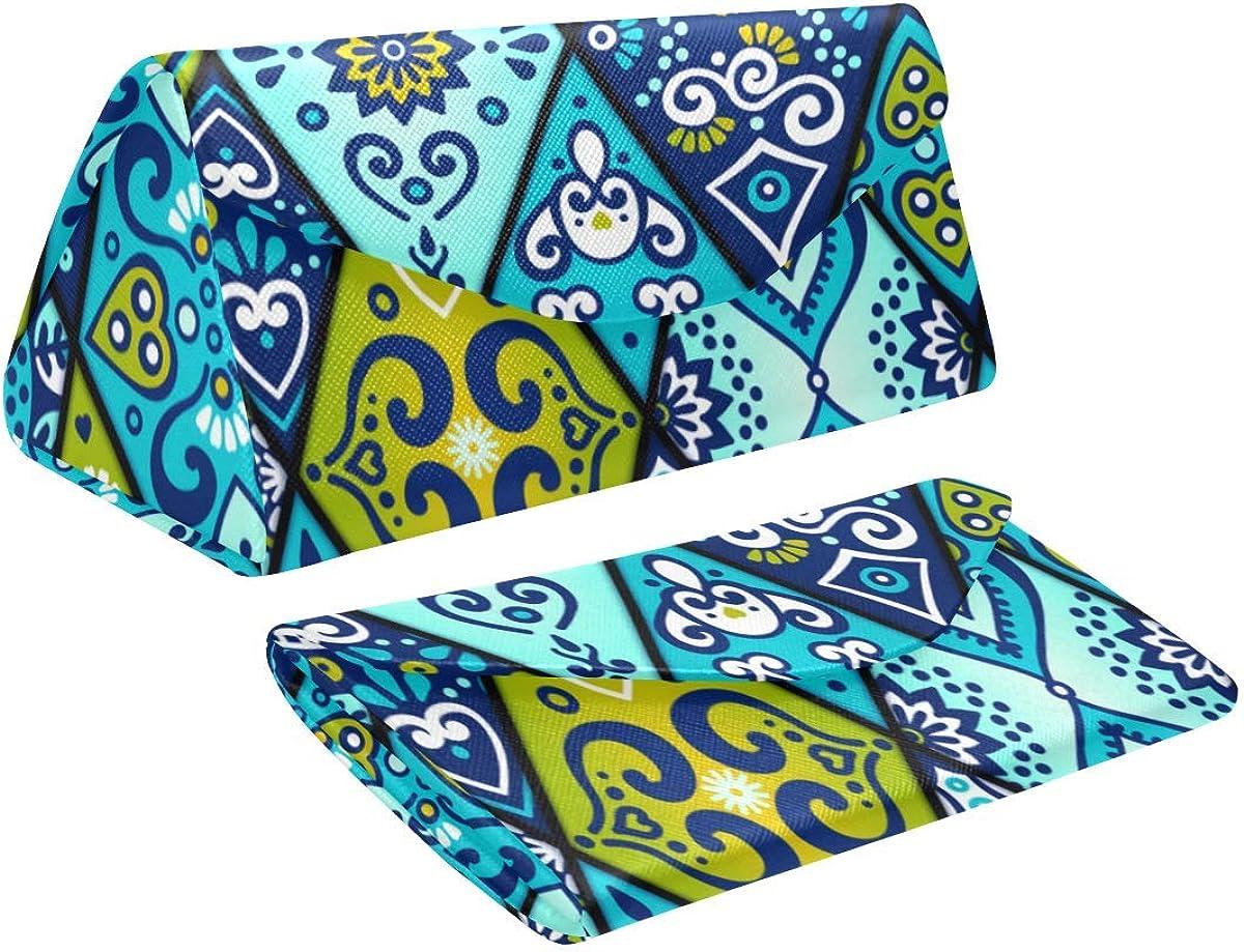 Glasses Case Bohemian Boho Eyeglass Case Leather Magnetic Folding Hard Case Sunglasses Eyewear Protective Case