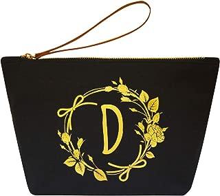 ElegantPark D Initial Monogram Personalized Travel Makeup Cosmetic Bag Wristlet Pouch Gifts Black with Zipper Canvas