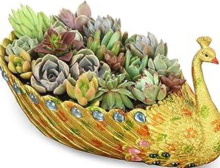 Worila Peacock Planter Flower Pot Luxury Succulent Pot Golden Peacock Pot Home and Garden Decorative Planter Container (Si...