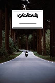 Notebook: Easy Rider on Forest Road Notebook - Beautiful 100-Page College-Ruled Work Book to Write in - Stylish 6 X 9 Line...
