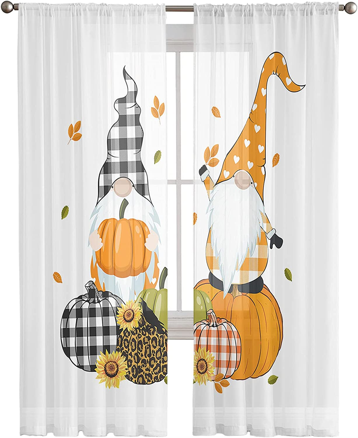 Kitchen Semi Sheer Today's only Limited time trial price Window Curtain Panels Fall 63 Har Inches Long