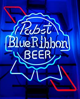 Pabst Blue Ribbon Beer Neon Signs Pub Display Neon Light Signs Real Glass Tube Bar Pub Game Room Decoration Handicrafted BeerSuper Bright 19x15 THE FASTEST