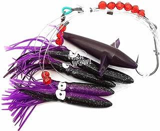 Fish WOW! Daisy Bird Chain Squid Lure Rig Teaser Fishing Trolling - Purple Black