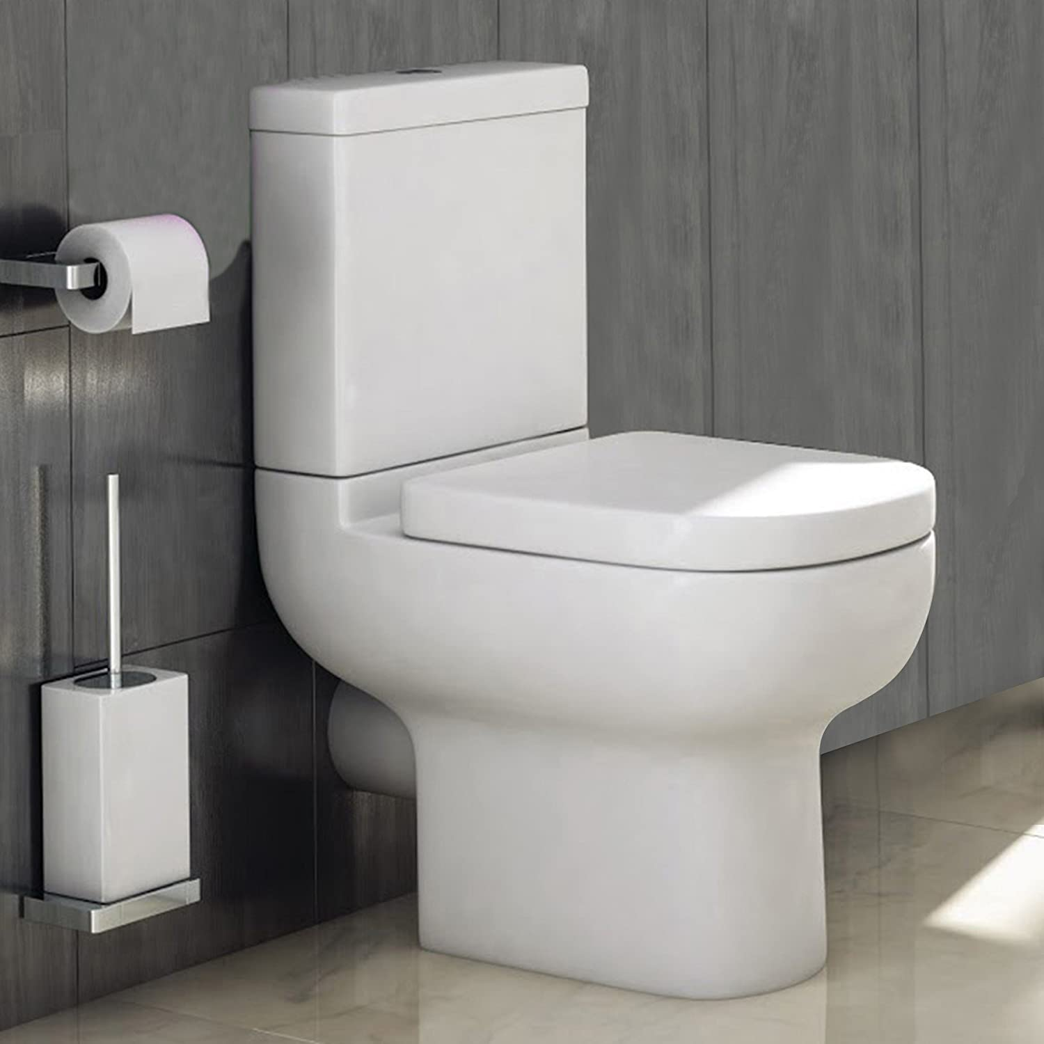 Modern Studio Close Coupled Toilet with White Pan & Cistern Soft Close Seat Bathroom WC
