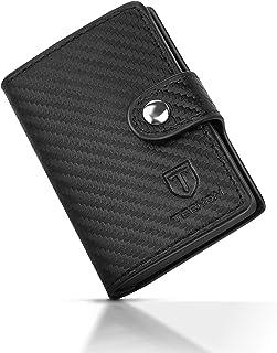 TEEHON Portafoglio Uomo con Carte di Credito in Pelle Fibra di Carbonio, 1 Hand-Push Porta Carte, 2 Fessure per Carte, 1 T...