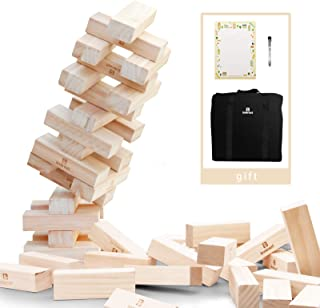 Lavievert Giant Toppling Timbers Wooden Blocks Game Stacking Blocks Stacking Tower for a Fun Outdoor, Lawn, Yard Game - 54 Pieces (Stacks up to 5+ feet. Ages 10+)