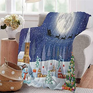 Luoiaax Christmas Commercial Grade Printed Blanket Winter Season Snowman Xmas Tree Santa Sleigh Moon Present Boxes Snow and Stars Queen King W60 x L70 Inch Blue White
