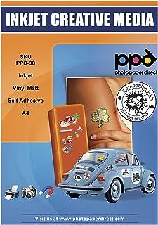 PPD Pegatinas de vinilo con acabado mate para impresión de inyección de tinta A4 X 10 hojas PPD-38-10