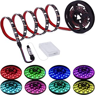 Led Strip Lights Battery Powered RGB LED Lights Strip Battery Operated Led Battery Lights with 3 Keys Controller Battery Led Strip Rope Lights 2M 6.54ft