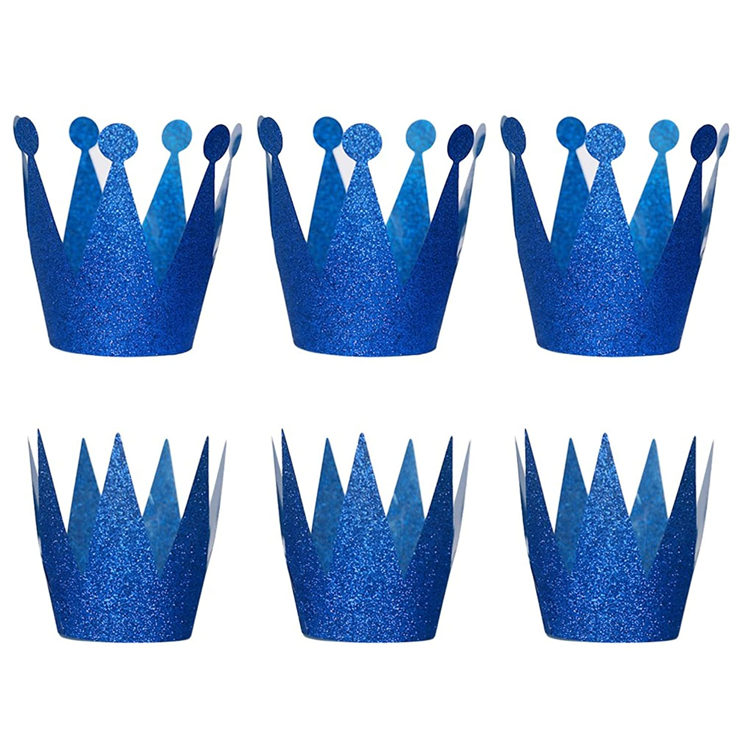 6PCS Glitter Birthday Crown Hats Party Hats Princess Prince Crowns for Kids and Adults Party Decorations (Blue)