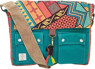 The House of Tara Teal Green Canvas Printed Laptop Compatible Messenger Sling Bag for Women (HTMB 018_Teal)