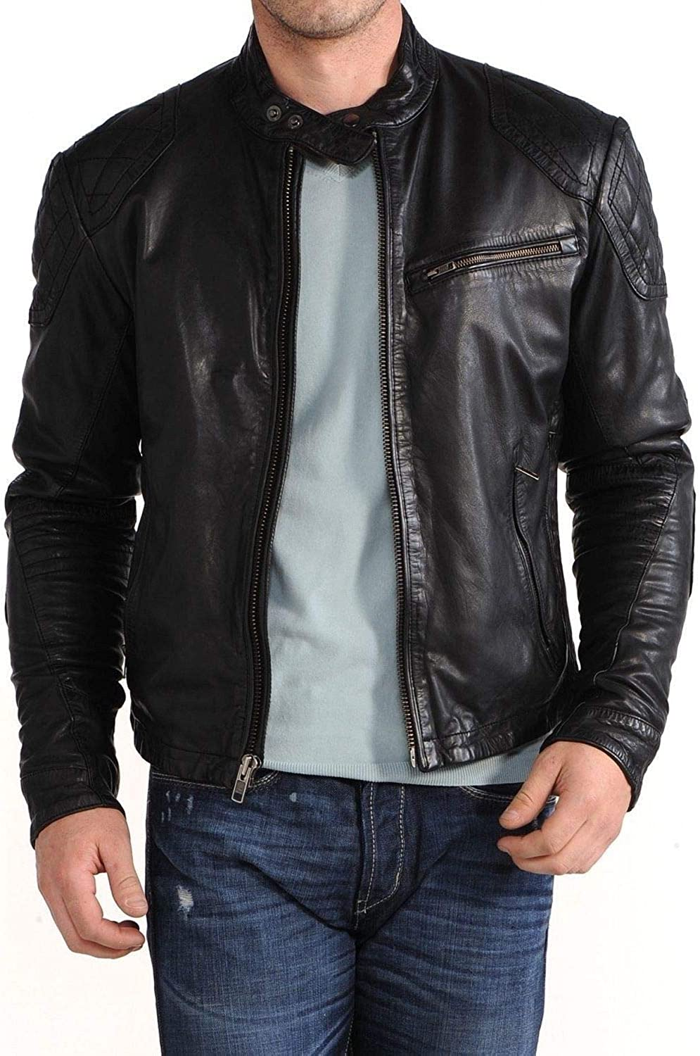 New Max Import 86% OFF Fashion Style Mens Leather Biker Jackets Motorcycle B Bomber