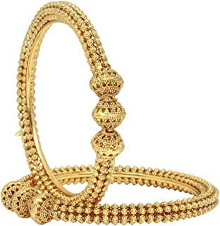 Ratna Traditional Gold Plated Ball Design Indian Bollywood Ethnic Polki Bangle Set Polki Bridal Jewelry