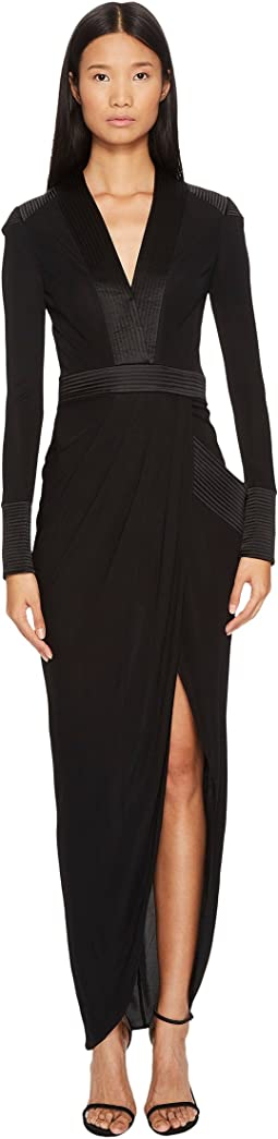 THOMAS WYLDE Shelly Long Sleeve Jersey Long Dress