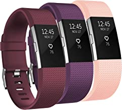 Amzpas 3 Pack Bands Compatible with Charge 2 Bands Small Large Soft Sport Replacement Accessories Wristbands for Women Men...