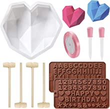 Diamond Heart Silicone Mold, Non-stick Heart Shaped Mousse Cake Mold Trays with 4 Pcs Wooden Hammers, Letter Mold and Numb...