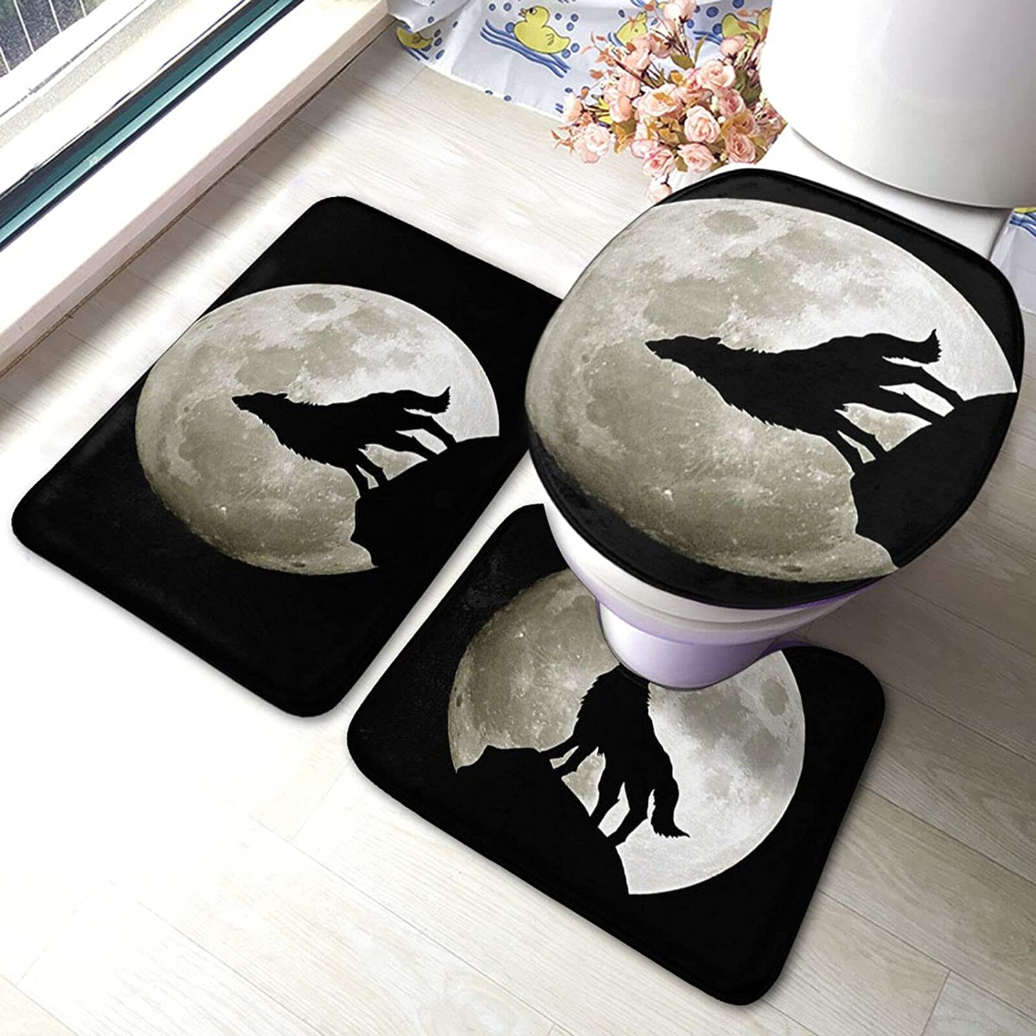 Wolf Recommendation and Over item handling ☆ Moon Bathroom Antiskid Set 3 S Piece Pads Bath