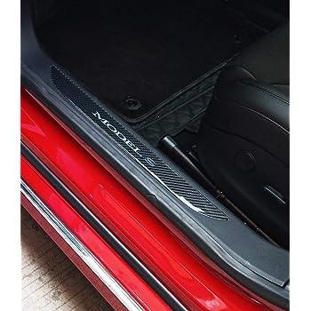 2 piezas TeslaWorld Umbral de la puerta del coche Protector de umbral Etiqueta protectora decorativa del coche Anti Scratch para el Modelo 3