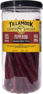 Tillamook Country Smoker Real Hardwood Smoked Pepperoni Sticks Releasable Jar, 20 Count
