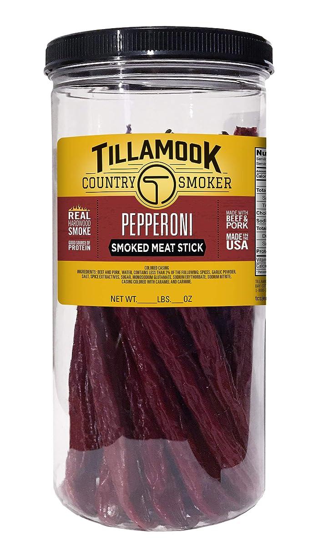 Tillamook Country Smoker All Natural, Real Hardwood Smoked Pepperoni 1lb Jar (20 ct)