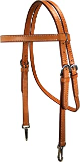 Tahoe Tack Double Duty American Leather Western Horse Training Headstall with Clip Ends