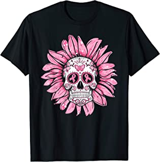 Breast Cancer Sugar Skull Sunflower Pink Ribbon flower T-Shirt