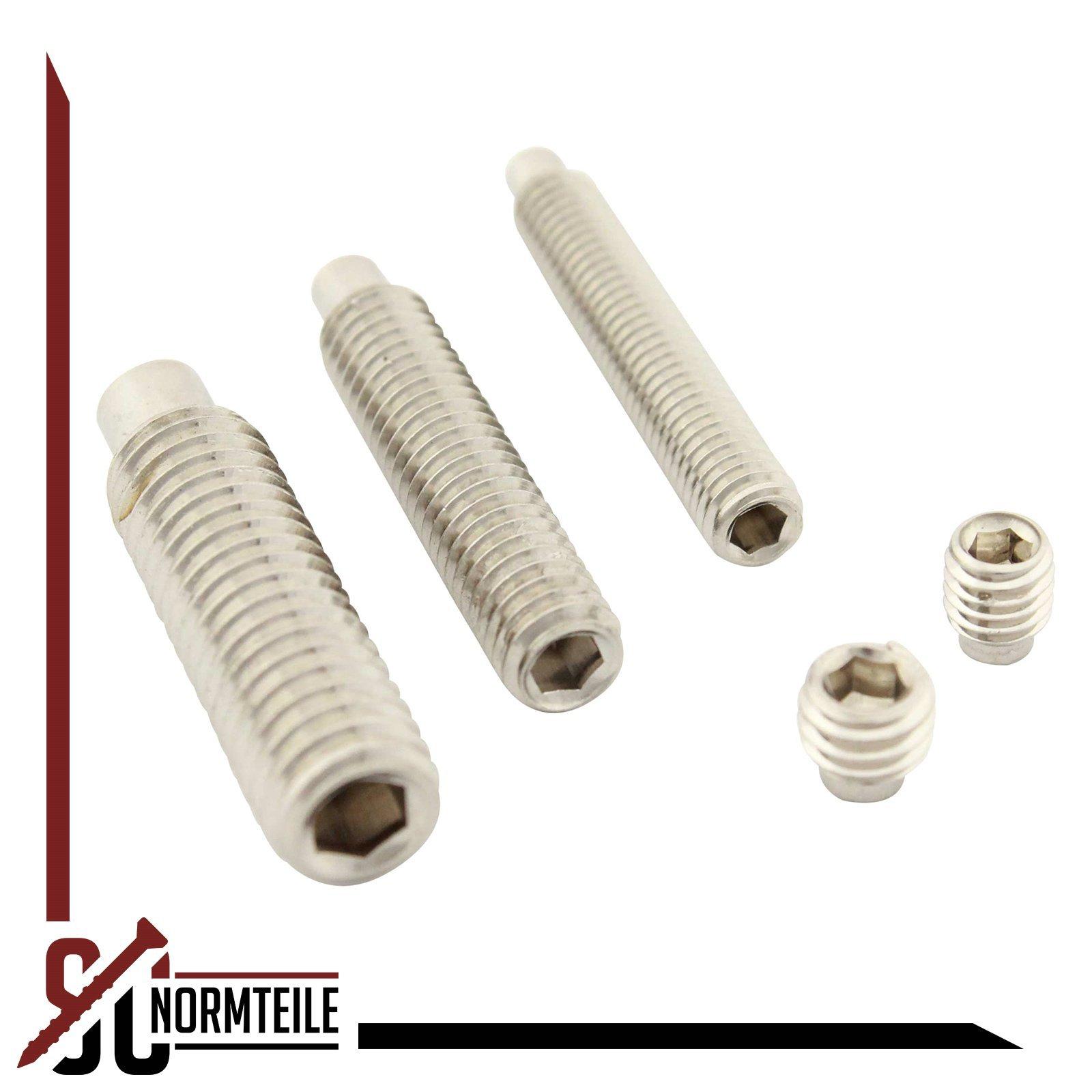 M6 x 10 mm - - SC915 Gewindestifte mit Innensechskant und Zapfen SC-Normteile ISO 4028 DIN 915 - aus rostfreiem Edelstahl A2 20 St/ück V2A - Madenschrauben