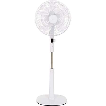 Amazon Basics Oscillating Dual Blade Standing Pedestal Fan with Remote - Quiet DC Motor, 16-Inch