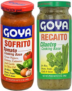 Goya Recaito & Goya Sofrito Cooking Base 2 - 12 Oz Jars (1 of Each)
