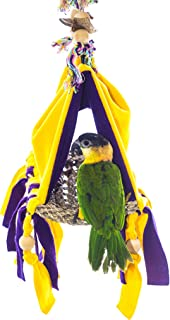 Birds LOVE Joyful Bird Hut Bed Tent for Small or Medium Birds, Partially Open Base Allows Dropping to Go Through to Bird Cage, Lovebirds Conures Senegals Parakeets Caiques Cockatiels - Choose Size