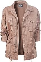 Design by Olivia Women's Solid Drawstring Zipper Front Closure Cargo Oversized Utility Anorak Jacket