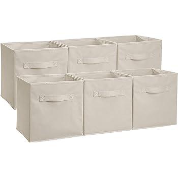 Amazonベーシック 収納ボックス 収納キューブケース 折りたたみ式 6点セット ベージュ