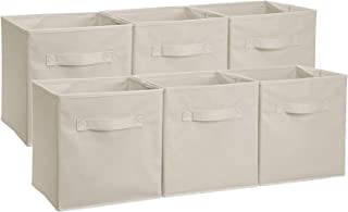 AmazonBasics Collapsible Fabric Storage Cubes Organizer with Handles, Beige - Pack of 6