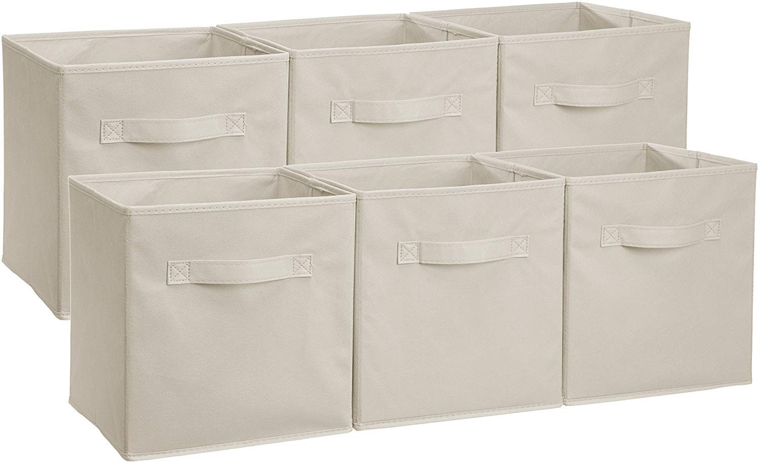 Amazon Basics Collapsible Fabric Storage Cubes Organizer with Handles, Beige - Pack of 6